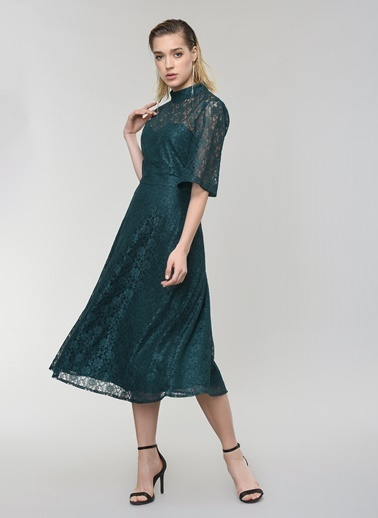 People By Fabrika Dantel Elbise Yeşil